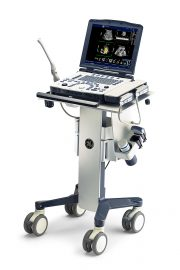 GE LOGIQ V2 ultrasound machine on mobile cart